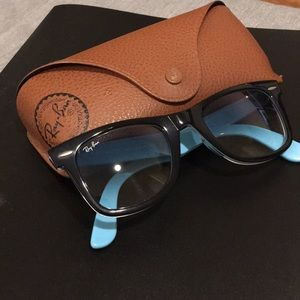 Ray Ban Wayfarer RB2140 Black/Blue Made in Italy